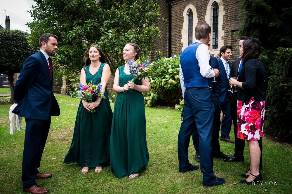 Wedding guests mingle
