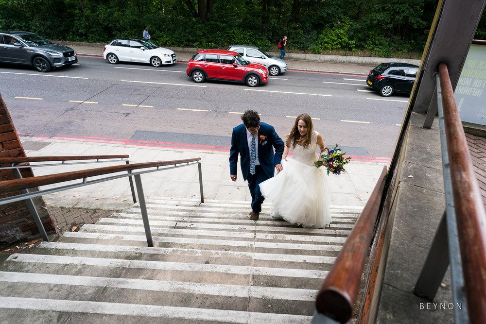 The happy couple arrive