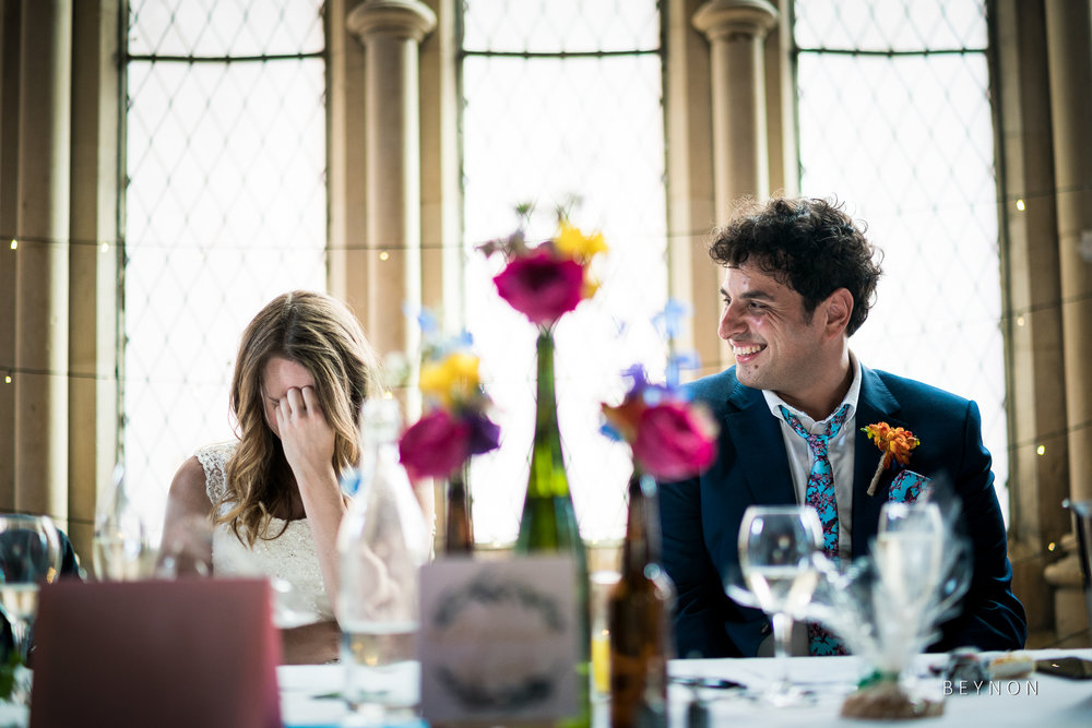The bride is embarrassed by her father's stories