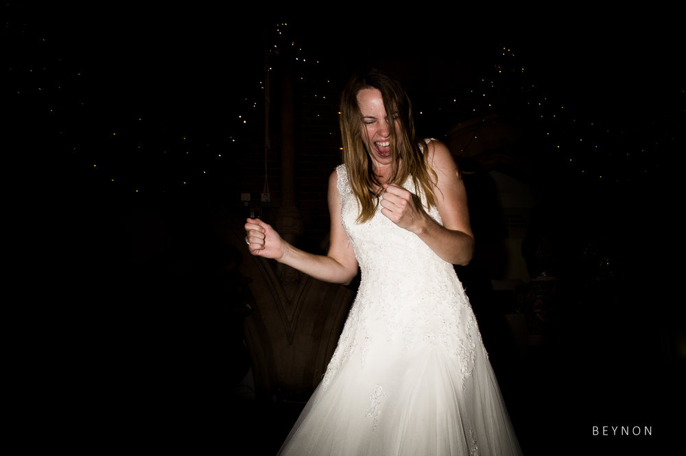 Bride is having a great time