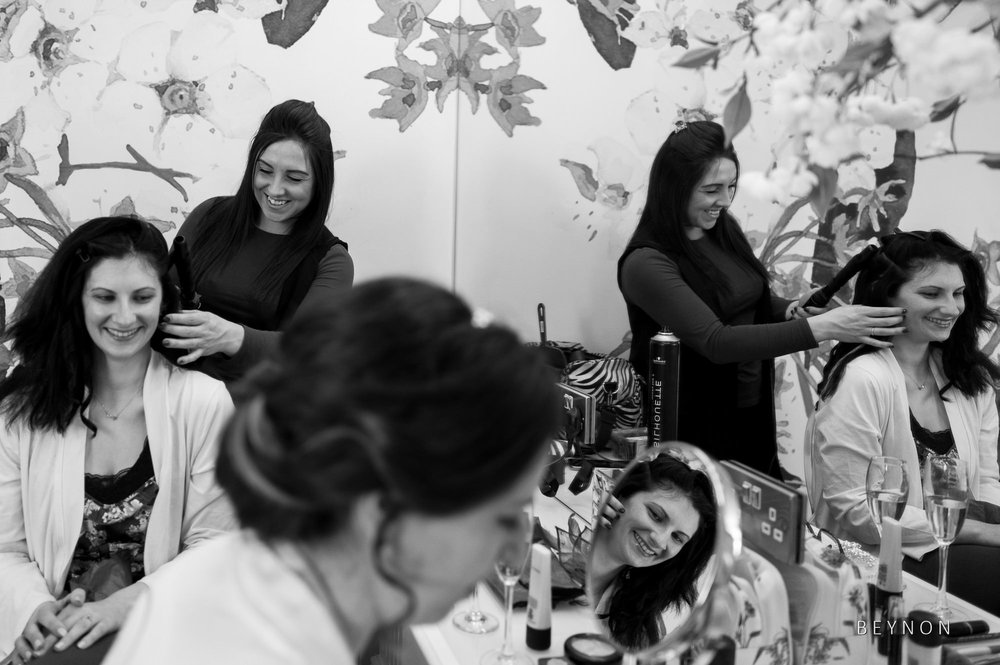Reflections in the mirror during bride prep