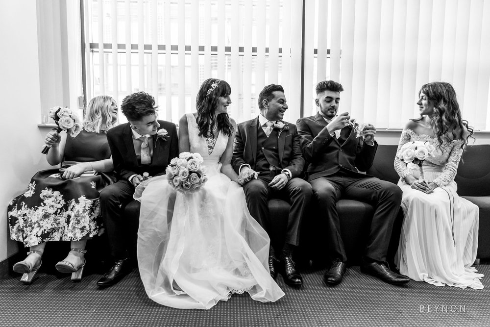 The bridal party wait for the ceremony