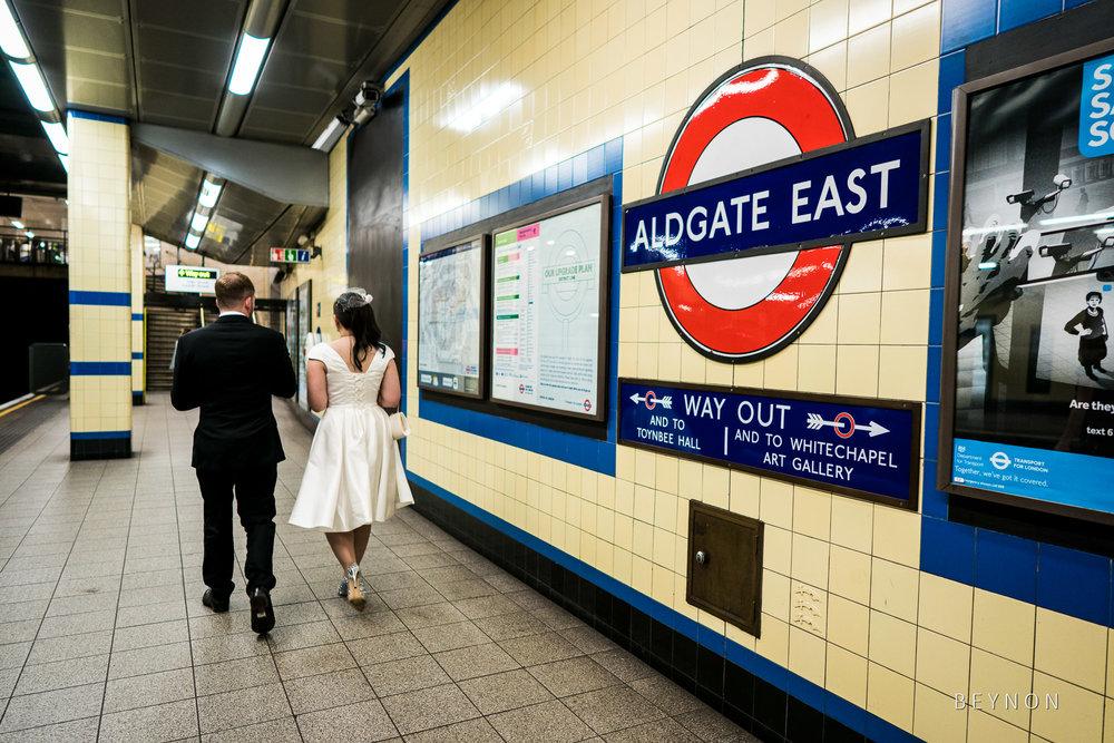 Bride and Groom use the underground
