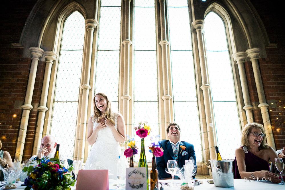 Bride gives speech