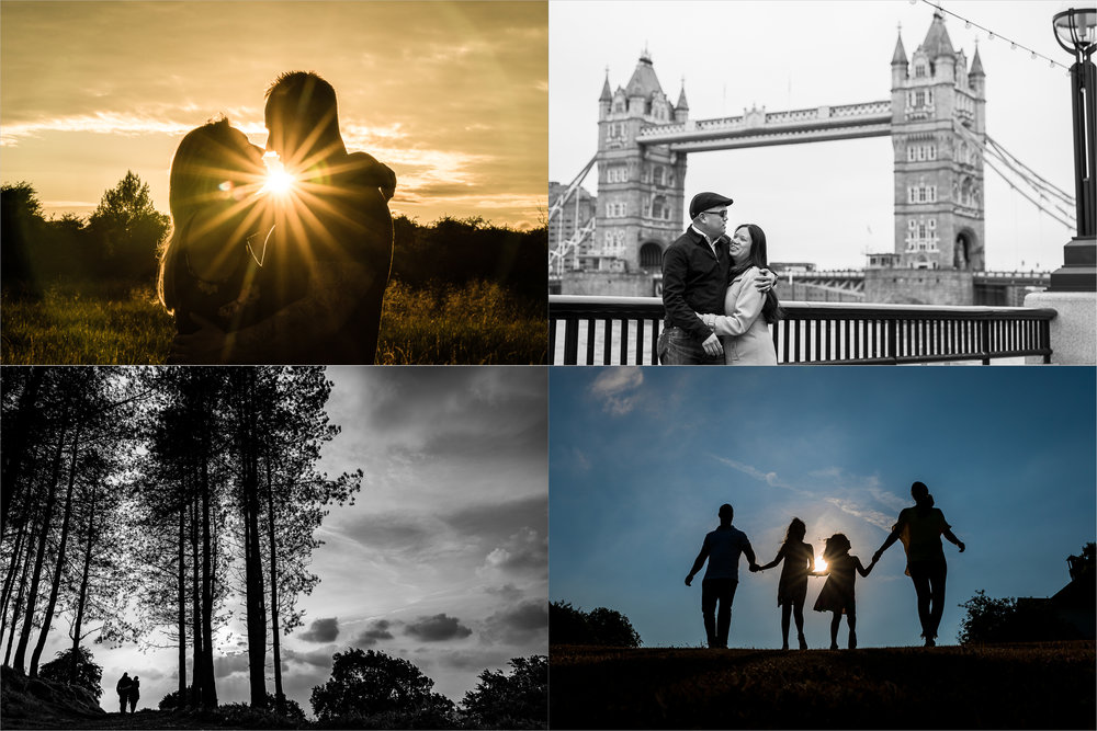 A collage of couples in love on their engagement shoot