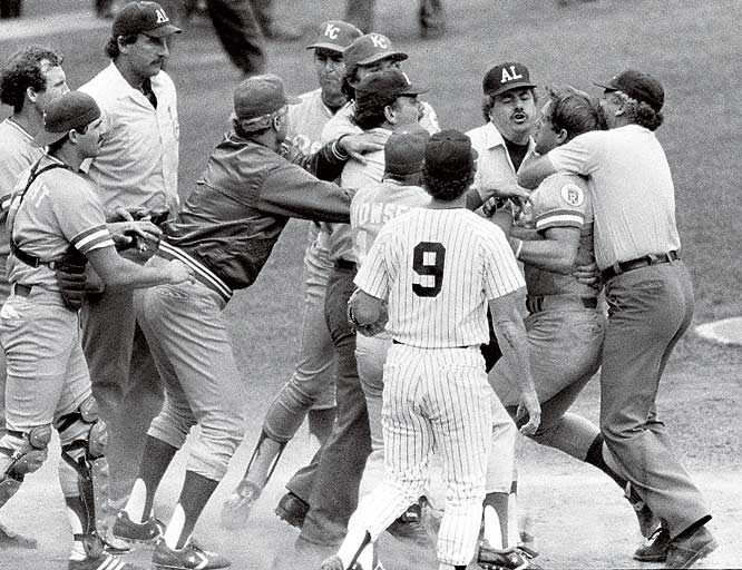 George Brett following his ejection for using too much pine tar on his bat - he hit a home run that was disallowed. He had to be held back from the umpire who made the call.