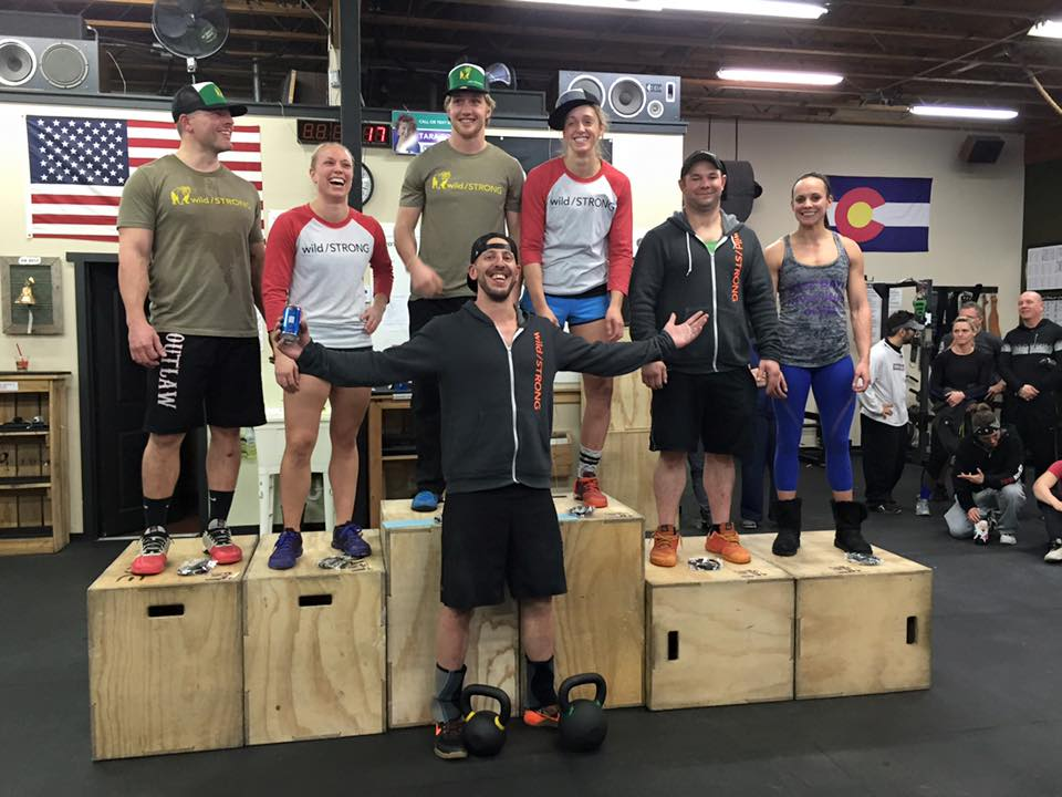 wild/STRONG's founder celebrates a clean podium sweep by the Tribe at the 2016 Bumper Plate Date at Big Thompson CrossFit in Loveland, CO.