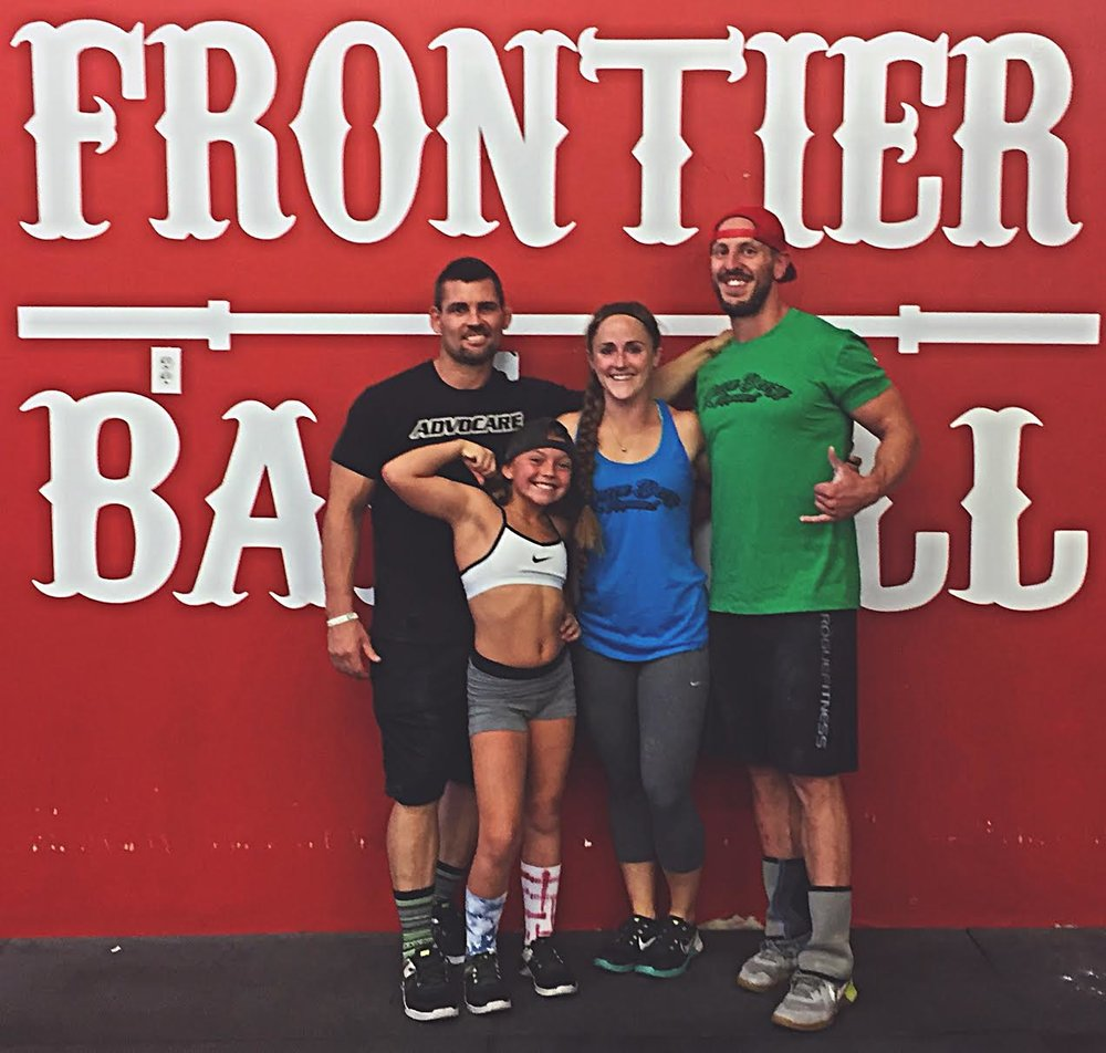 Rocking our new Queen Beezy Apparel shirts during Brooklynn's drop-in at CrossFit Frontier