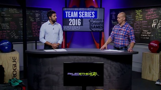Paleoethics logo on the Update Show desk during the 2016 CrossFit Team Series