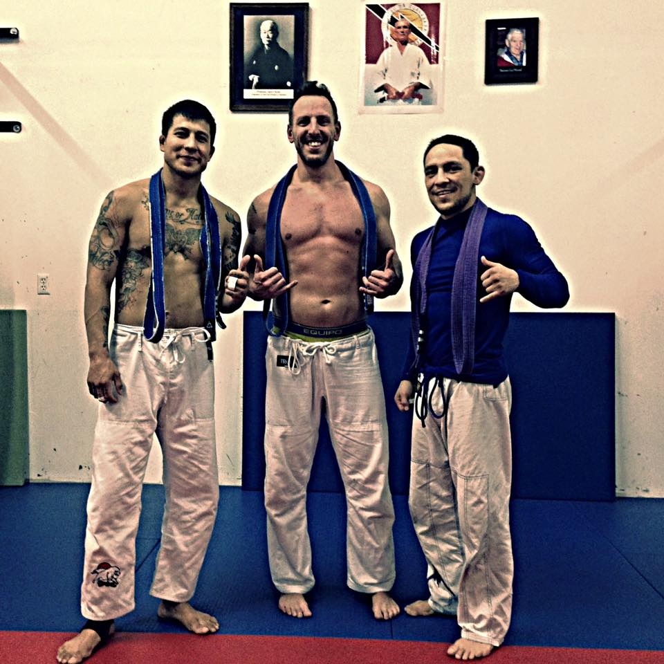 The author (not pictured) met wild/STRONG founder Seth Waggener (center) during their time training together in Brazilian Jiu Jitsu. BJJ culture has many proponents of the beneficial properties of marijuana when it comes to training.