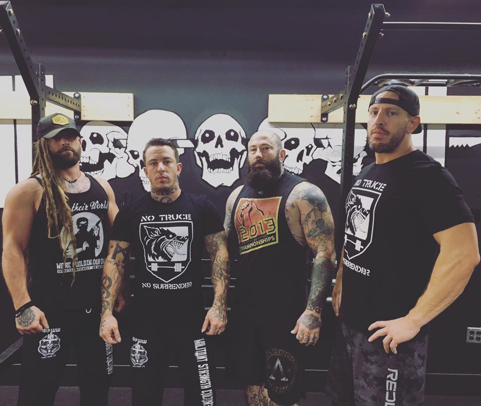 Waggener with younger brothers Matthias (far left) Paul (one in from left) and Iron and Blood Strength and Conditioning owner Kyle Helsper. Vengeance Strength Kvlt - Nashville, TN