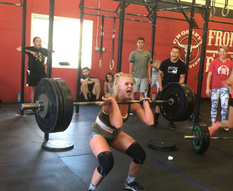 Brooke Austin celebrates a PR at the buzzer during the 2018 Wyoming Open at CrossFit Frontier. August 2018.