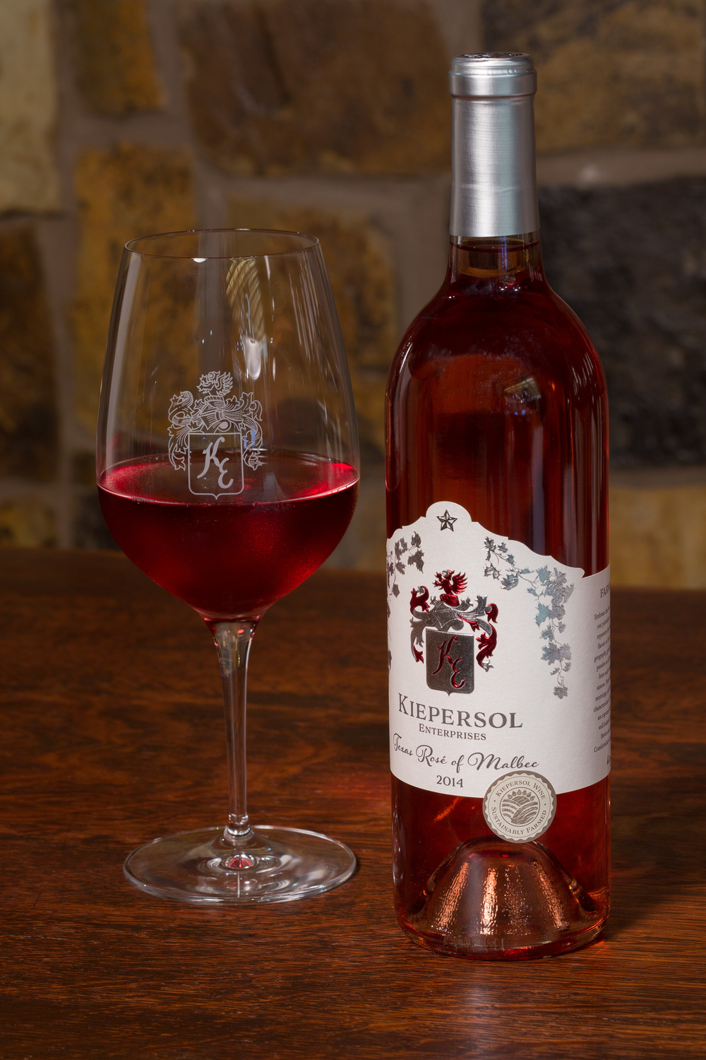 KIEPERSOL Rose of Malbec wine with glass   ©   2015 KIEPERSOL ENTERPRISES