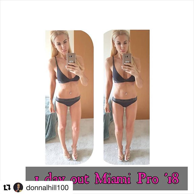 #Repost @donnalhill100 with @get_repost ・・・ Peak week is always the biggest struggle but we're almost there, now for a thick coat of tan and some more carbs 🤗 #peakweek #miamipro #bikinicomp #bodybyjr #teamjr #trainhard #lean #fitnessmodel #focussed  Coached and prepped by @bodybyjr