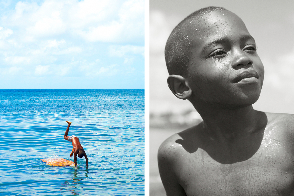 KITTITIAN BOY SWIMMING NEAR THE FERRY DOCK IN BASSETERRE