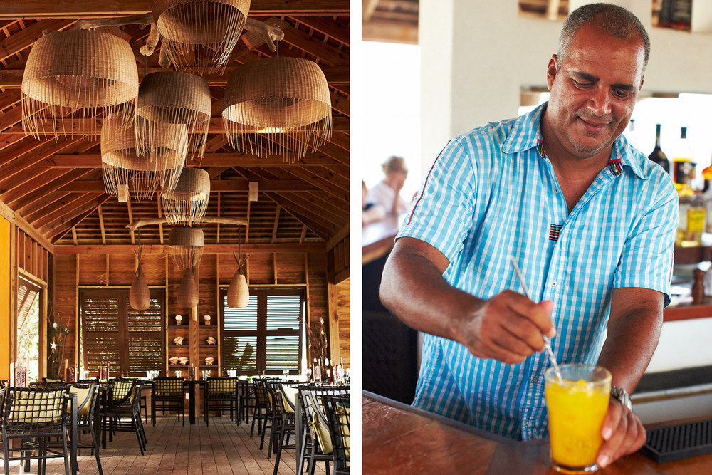 SPICE MILL RESTAURANT + OWNER ROGER BRISBANE STIRRING A TING-AND-PASSION-FRUIT PUNCH
