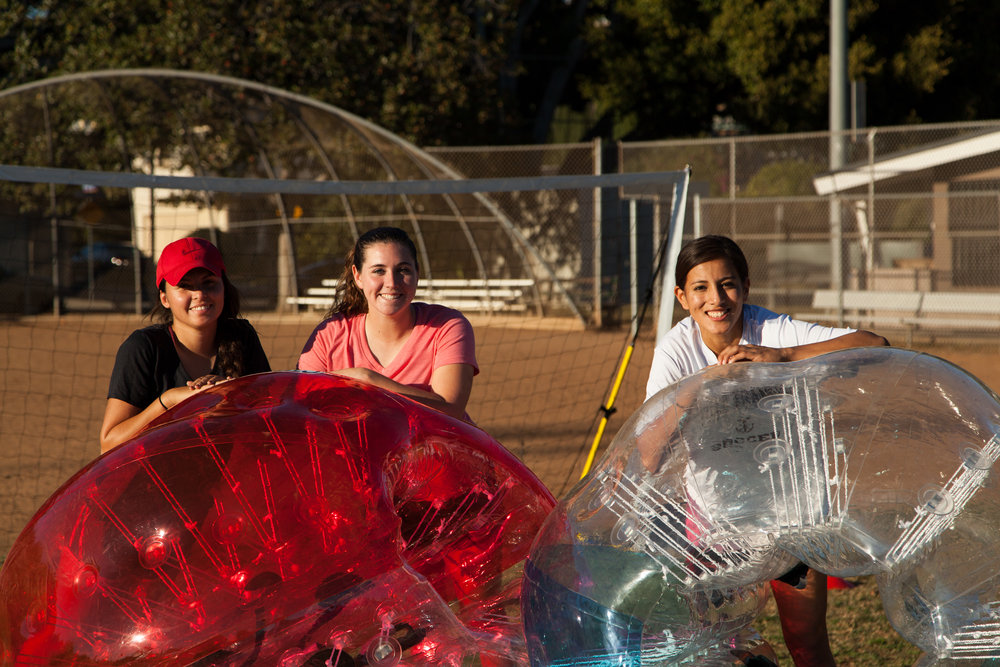 These girls are ready to play some bubble soccer