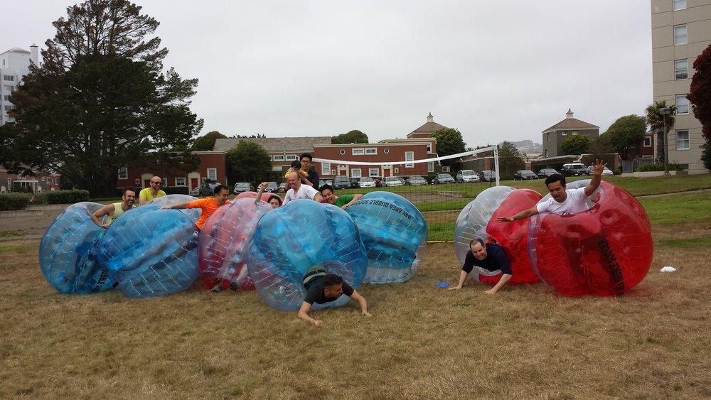 Falling in a bubble soccer suit