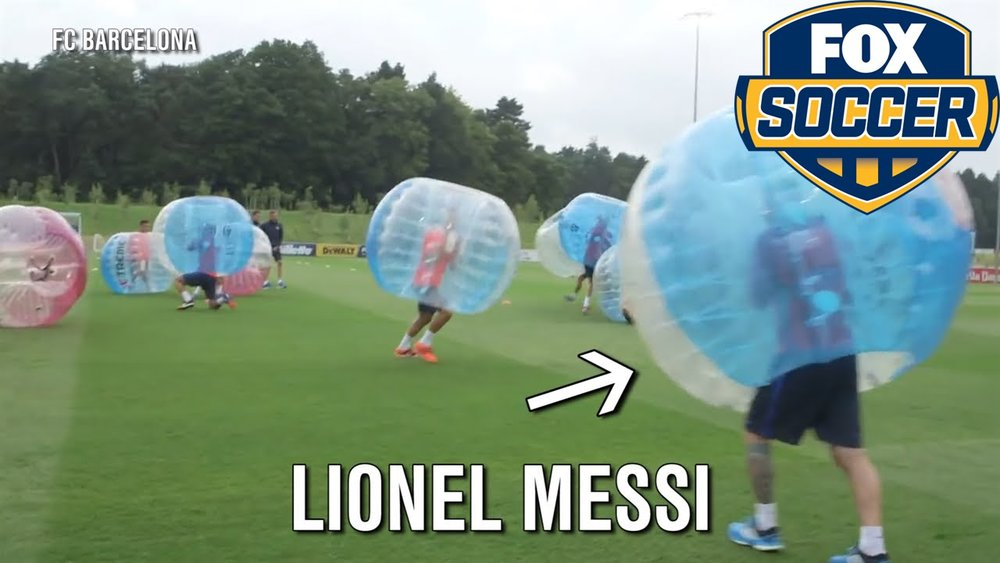 FC Barcelona playing Bubble Soccer