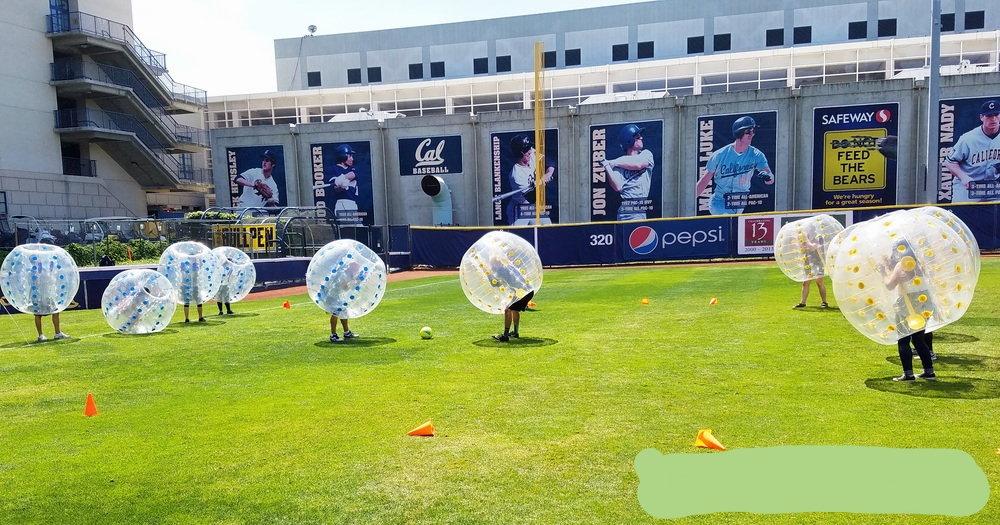 Spread out when playing bubble soccer