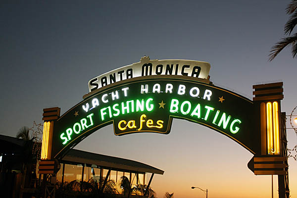 Santa Monica Sign at night