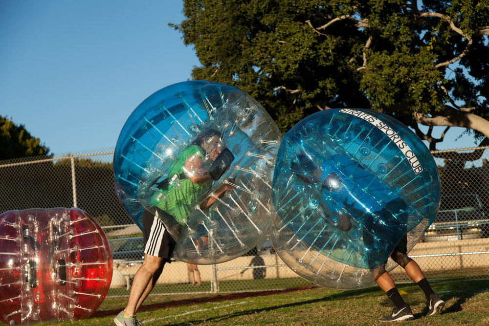 Book Zorb Soccer Rental for a standoff like this!