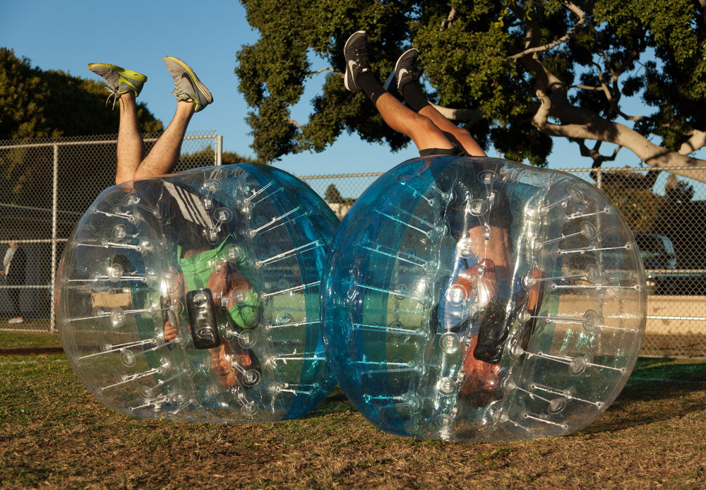 Upside down Bubble Soccer in Burbank