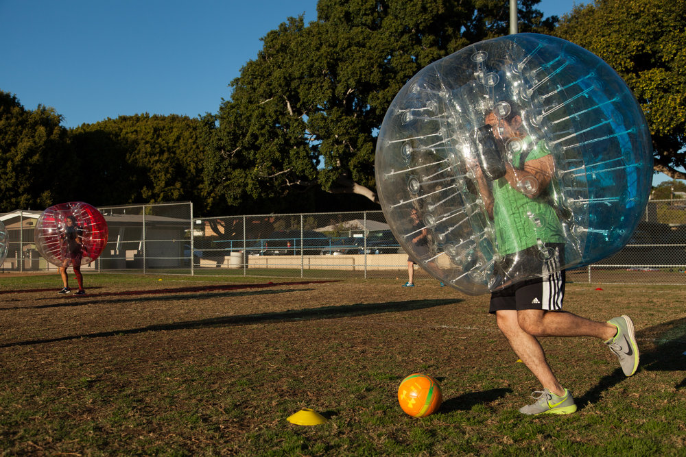 Dribbling Bubble Soccer Rental Party