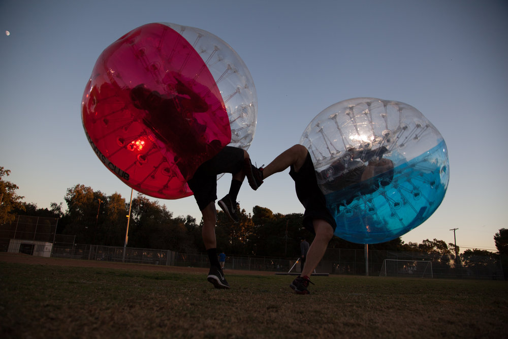 Bubble Soccer Fall in a Beverly Hills Park