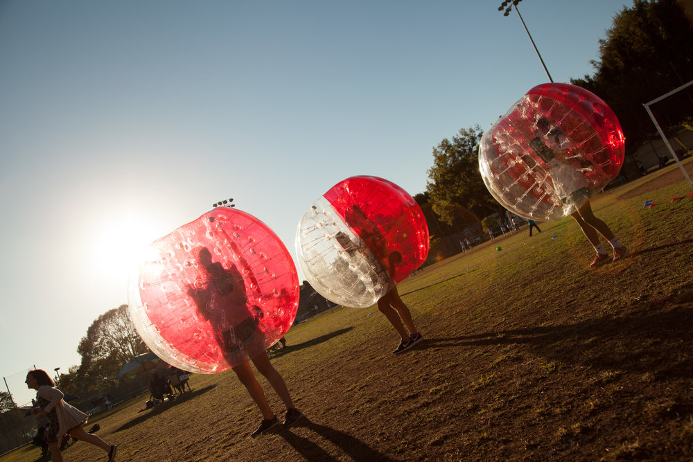 Bubble Soccer Party at Sunset in Santa Monica CA Park