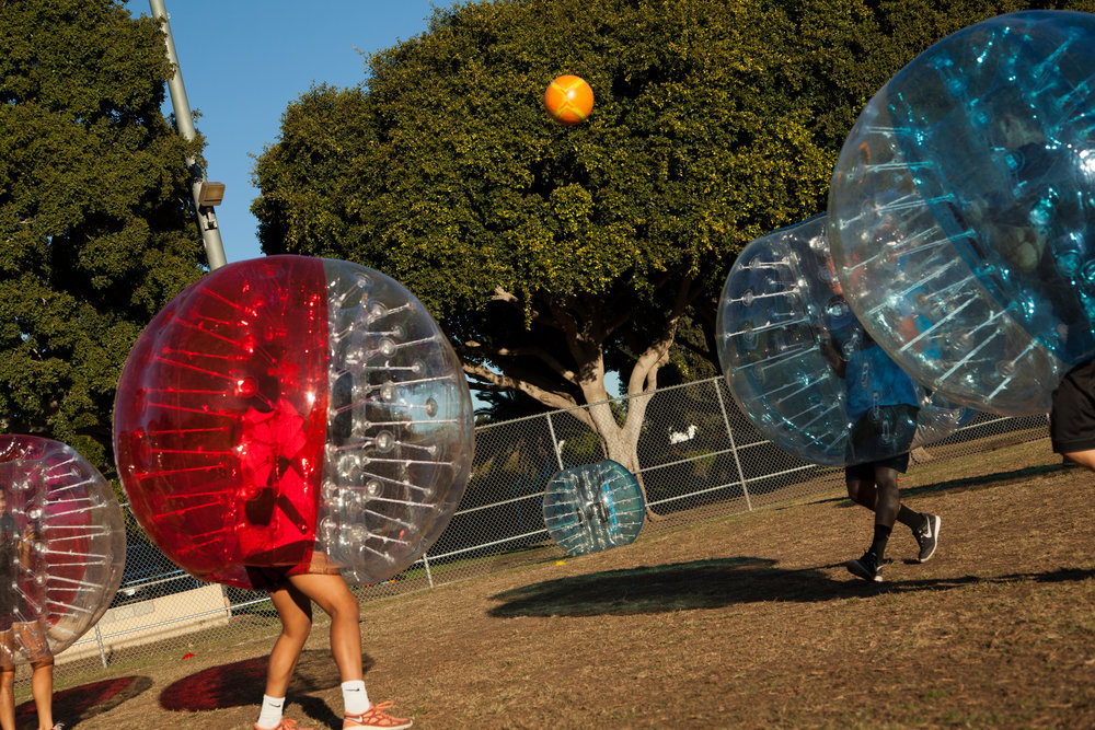 Bubble Soccer game begins in West LA