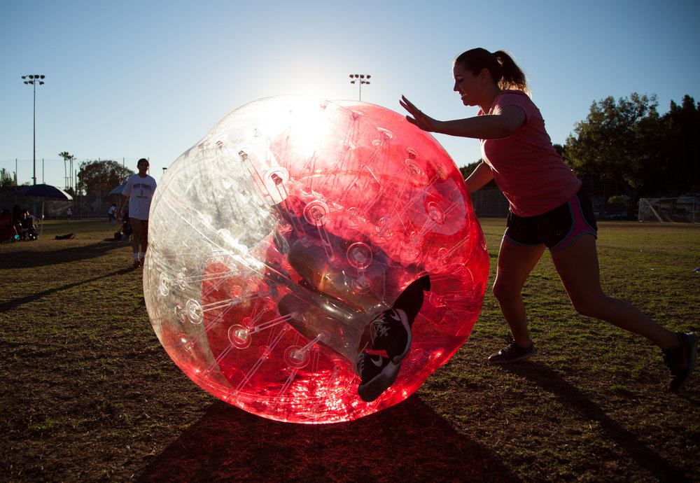rolling friends in a bubble suit is a great bubble soccer game west la
