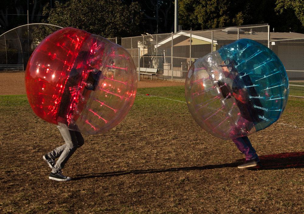 bubble soccer standoff in rancho palos verdes estates
