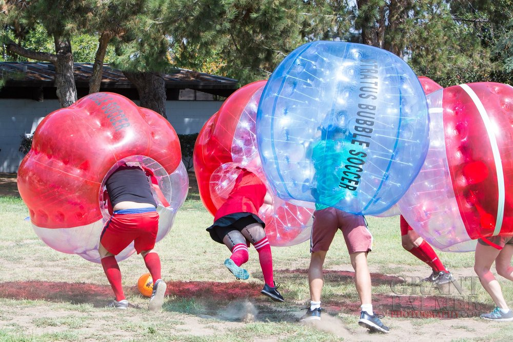 Beginner's Guide to Bubble Soccer Red team is on the attack getting knocked down