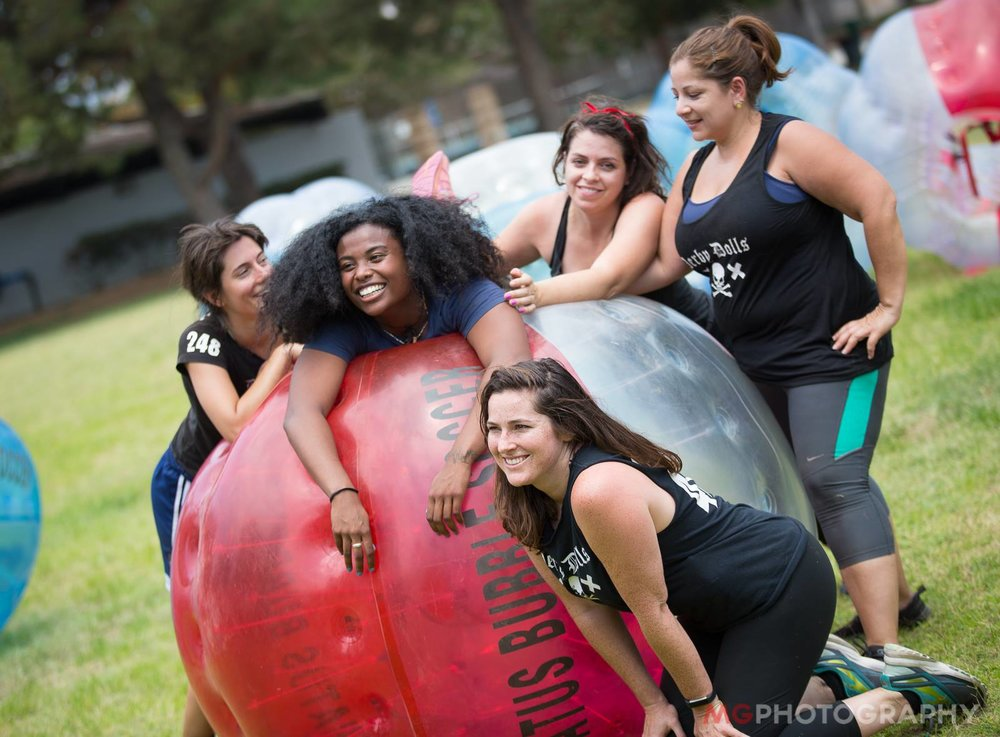 Have you seen those large inflatable things people wear at the park and run around in? You mean bubble soccer?