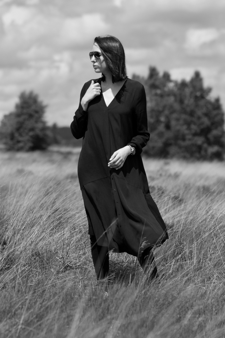 Long black shirt dress with v neck