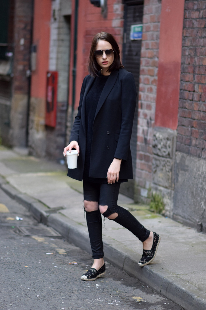 Valentino black lace espradrilles