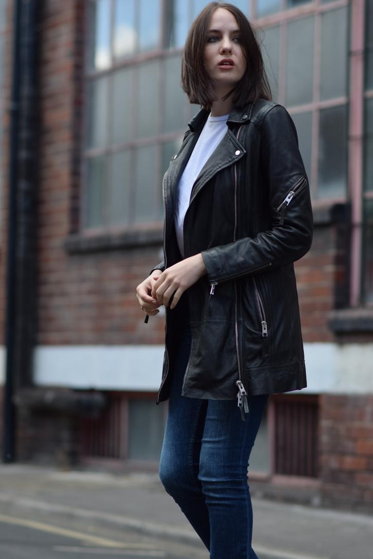 All Saints leather biker coat