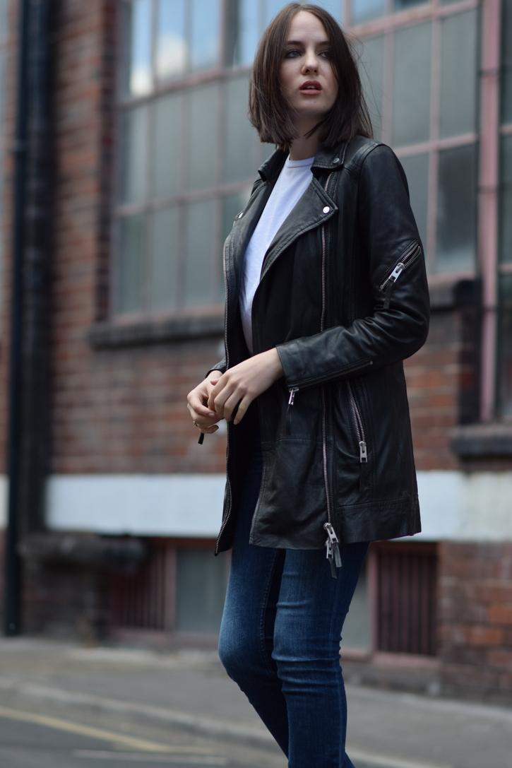 All Saints leather biker coat