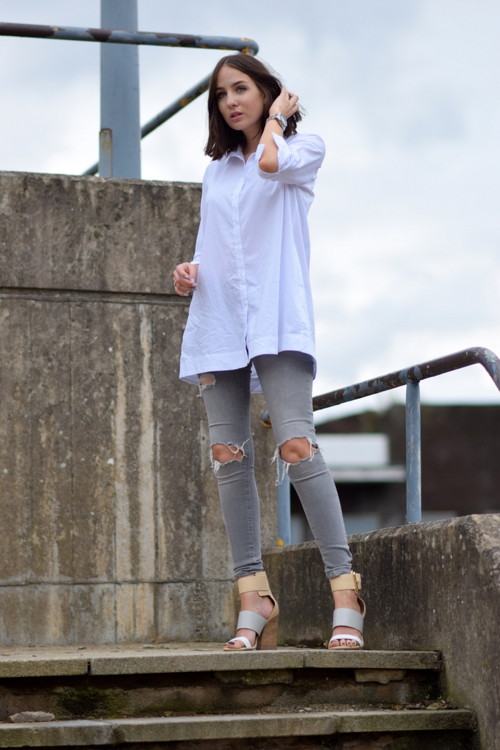 Topshop Oversized White Cotton Shirt