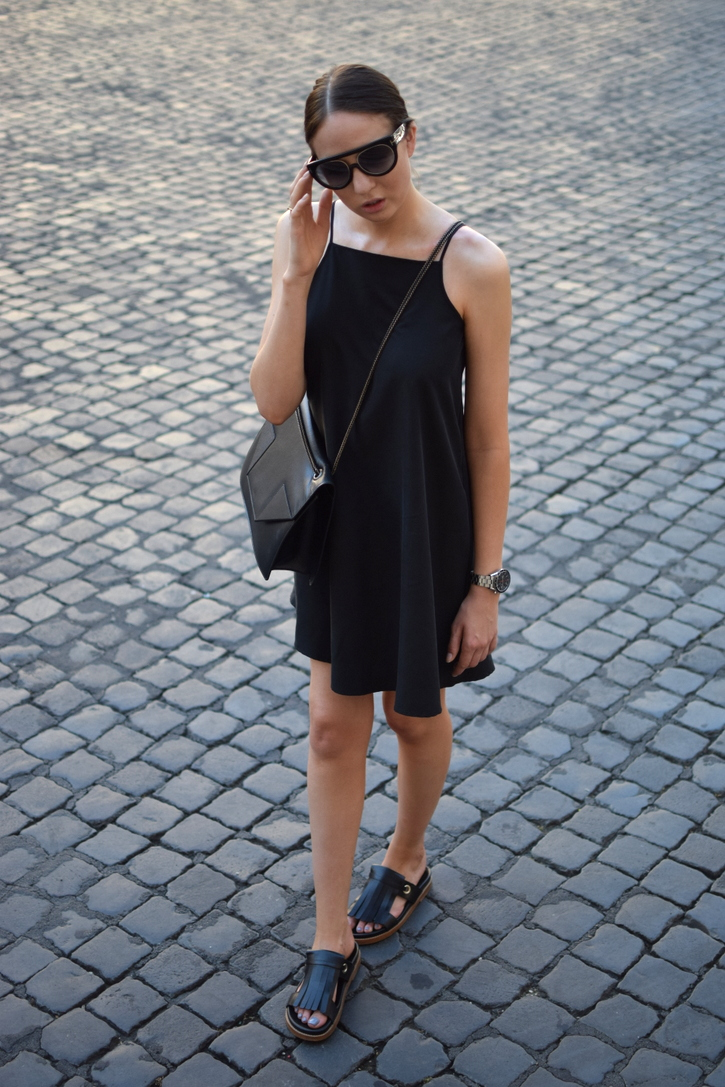 Black mini dress with spaghetti straps