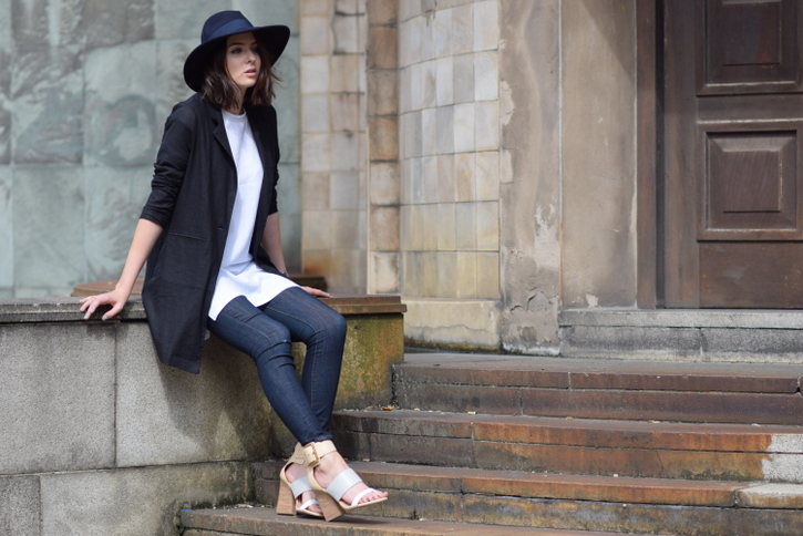 ASOS Longline linen black blazer