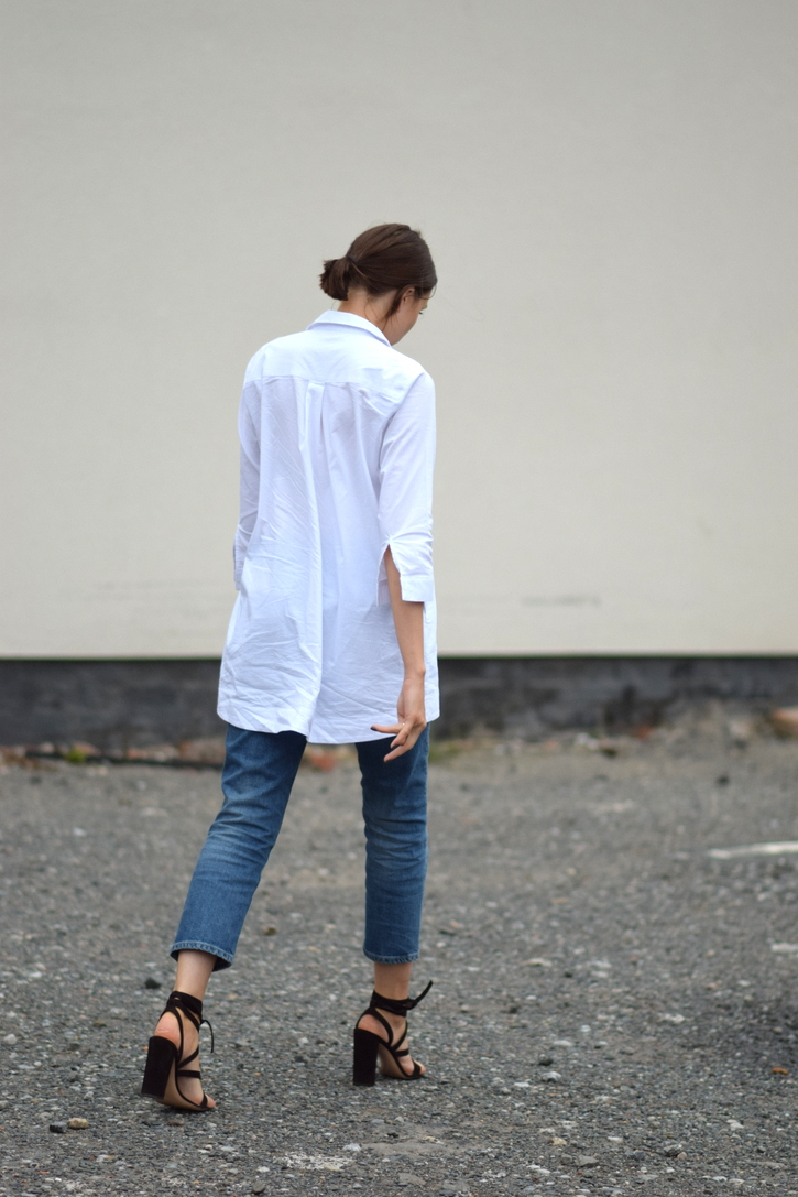 White shirt with cropped jeans and heels