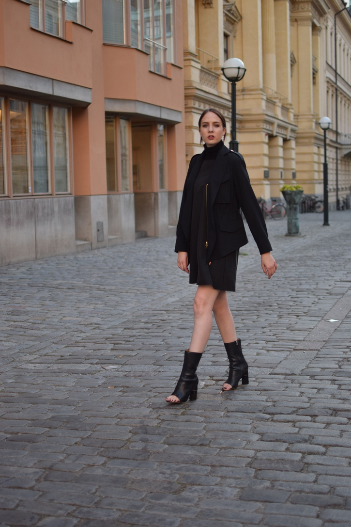 Acne jacket and shoes with black dress and turtleneck