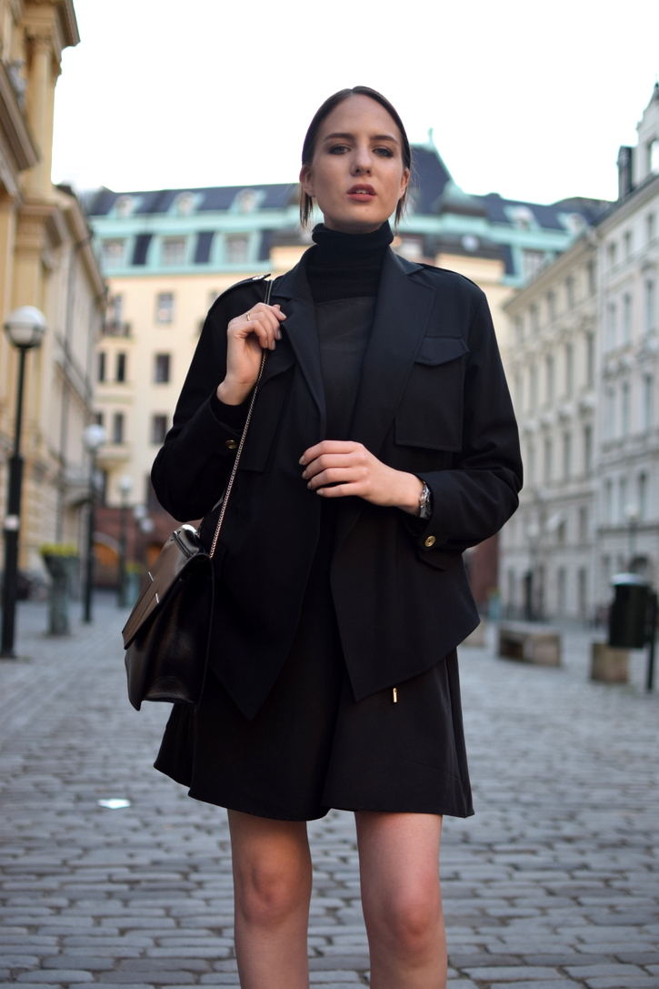 Acne Studios black military jacket and Saint Laurent Betty bag