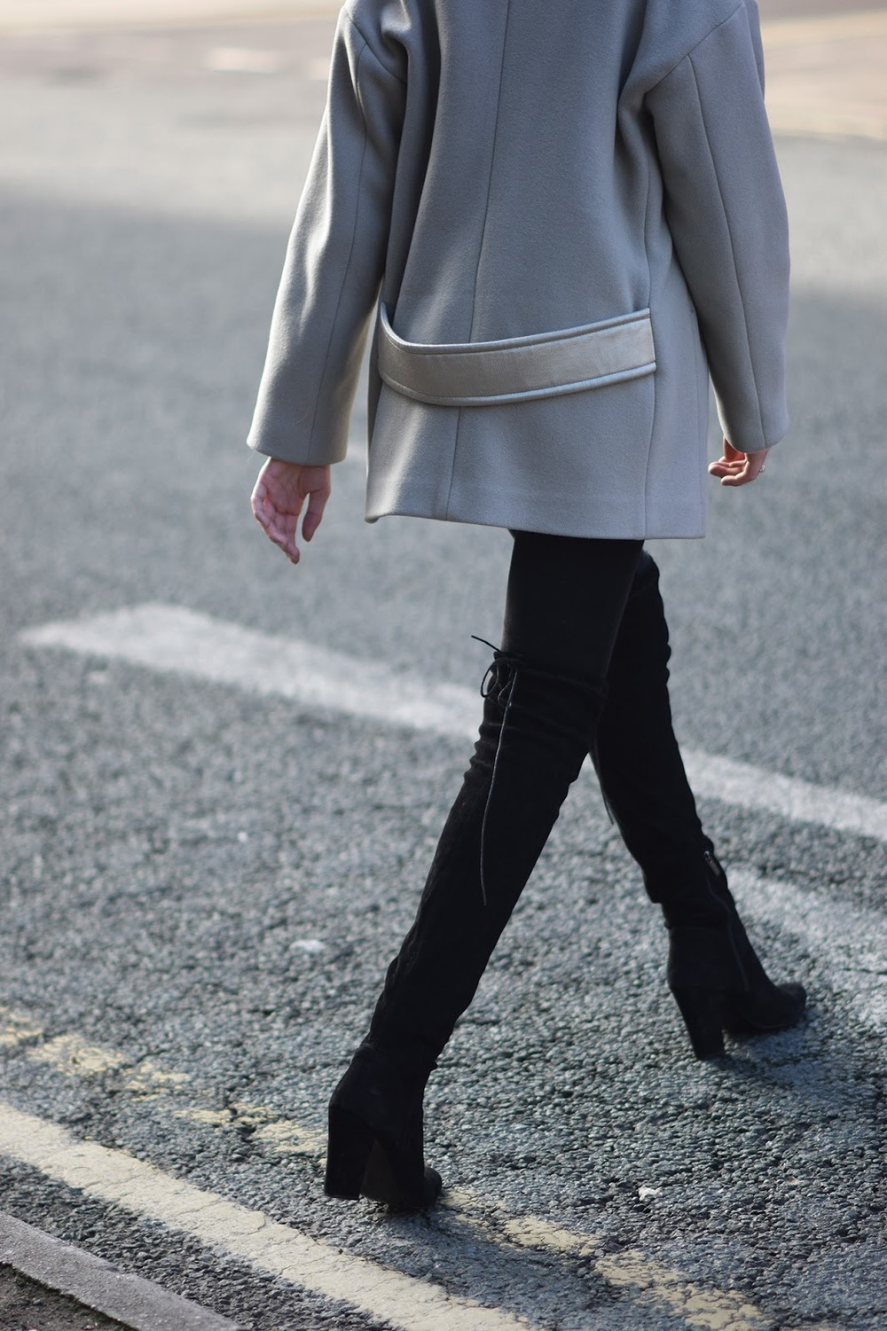 Cropped coat with black over the knee boots for winter