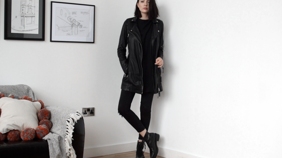 Longline leather jacket Whistles lana longline leather jacket