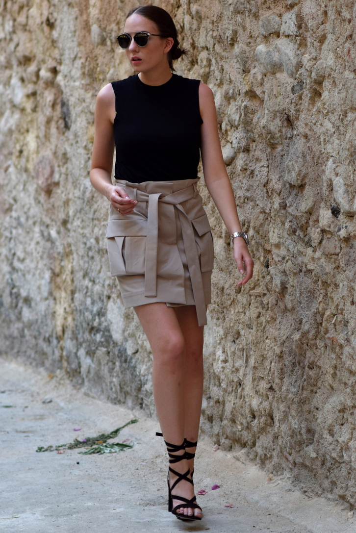 COS Tie-Waist Cotton Skirt