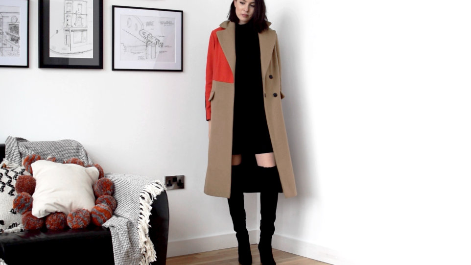 Topshop colour block coat
