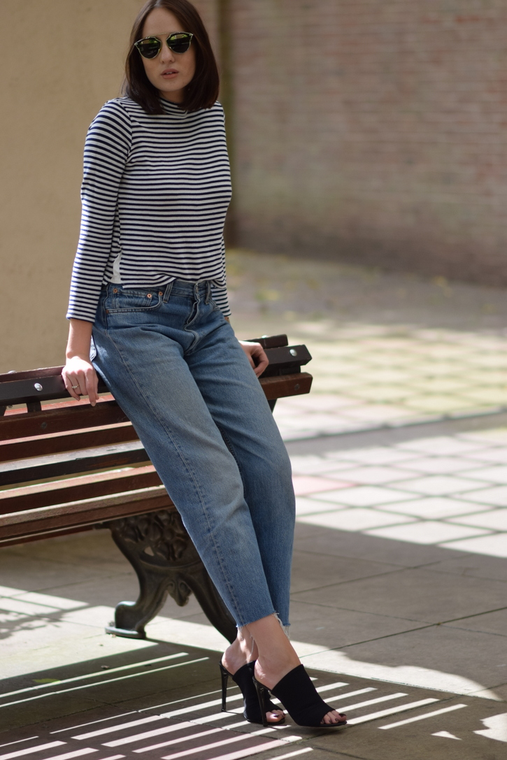 Baggy jeans with striped top